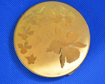 Vintage Elgin American Round Floral Ladies Face Powder Compact - MADE IN USA