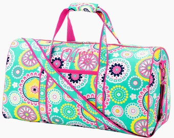 Personalized Duffle Bag, Travel Duffle, Floral Mint Hot Pink, Monogrammed Duffle, Dance Bag, Piper collection