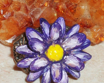 Purple Flower Hand-painted Ring