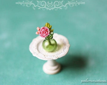 Dollhouse Miniature Green Bottle With Ruffle Rose