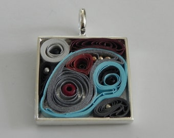 Blue, Grey, Black and Brown Abstract Square Silver Pendant
