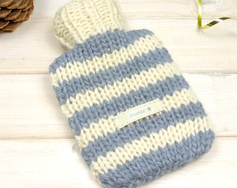 Hot Water Bottle and Cover, Childrens Mini Hot Water Bottle, Travel Heat Pack, Personalised Gift, Stripe Hot Water Bottle, kinderwärmflasche