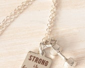 Strong is Beautiful Necklace, Strong Necklace, Strong Girl, Quote Jewelry, Motivational Jewelry, Fitness Jewelry, Fitness Motivation