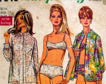 Vintage Mod Bikini Cover-Up Pattern Simplicity 7645 Bust 32.5 Nehru Collar Swinging 60s