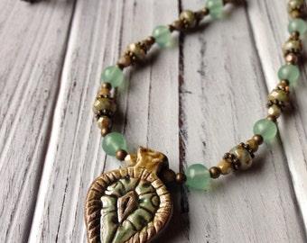 Adventurine Gemstone Necklace with Ceramic Pendant and Czech Glass Beads