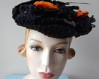 Authentic Antique Hat / 1900s Hat / Victorian / Wired / Edwardian