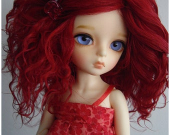 """Carmin red color Tibetan mohair wig for 6/7"""" littlefee-unoa-narae"""