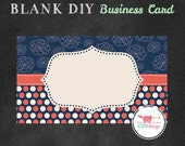 INSTANT DOWNLOAD - DIY Blank Business Card Template - Premade Business Card Set - Navy and Coral Polka Dots & Flowers