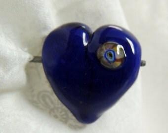 Cute Little Blue Heart Focal Handmade Lampwork bead by Diane