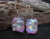 Abstract Rainbow on Clear Handcrafted Fused Dichroic Glass earrings.  E-58