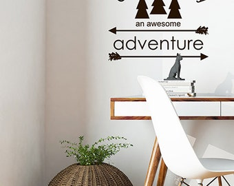 Go Make today an Awesome Adventure vinyl decal wall quote words pine trees and directional arrows, Arrow Decal, Tree Decal, Inspirational