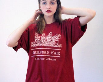 80s Guilford Fair T-shirt, Clydesdale Horse Tee, Vermont T-shirt, Draft Horse T-shirt, Work Horse Tshirt, Burgundy Country Fair T-shirt XL