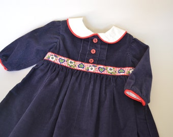 Blue Corduroy Toddler Girls Dress Girls Winter Dress Girls Size 12-18M Special Occasion Girls Dress