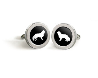 Cavalier King Charles Spaniel Cufflinks for Him - Mod Dog Silhouette Custom Tuxedo Cuff Links in your choice of color