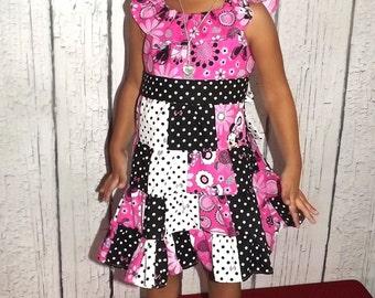 Minnie Mouse Polka Dot Bow Patchwork Twirl Dress Girls Sizes 2T