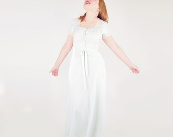 30s Pale Aqua Silk Nightgown with Lace and Tie Belt M