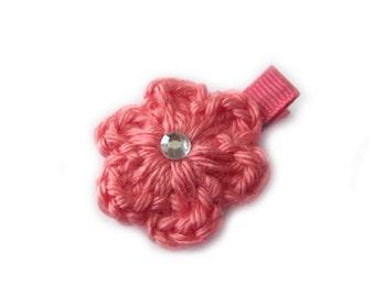 Strawberry Pink Hair Clip Crochet Flower Hair Clip Baby Girl Hair Clip Baby Hair Clip Spring Hair Clip Easter Hair Clips Summer Hair Clip