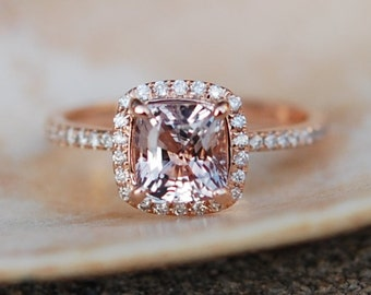 on hold final payment -Smokey Peach Sapphire Ring 14k Rose Gold Diamond Engagement Ring 2.03ct Square Cushion Ice Peach sapphire
