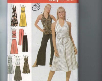 Misses Sewing Pattern Simplicity 4998 Misses Easy Skirt Pants Dress Top Halter Wide Leg Size 6 8 10 12 UNCUT