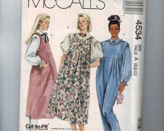 1980s Misses Sewing Pattern McCalls 4534 Misses Maternity Jumpsuit Jumper Dress Blouse Puff Sleeves Size 6 8 10 Bust 30 31 32 33  1989 UN 99