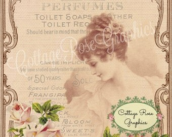 Vintage Lovers of Perfumes digital download Victorian lady and roses cottage chic Buy 3 get one FREE