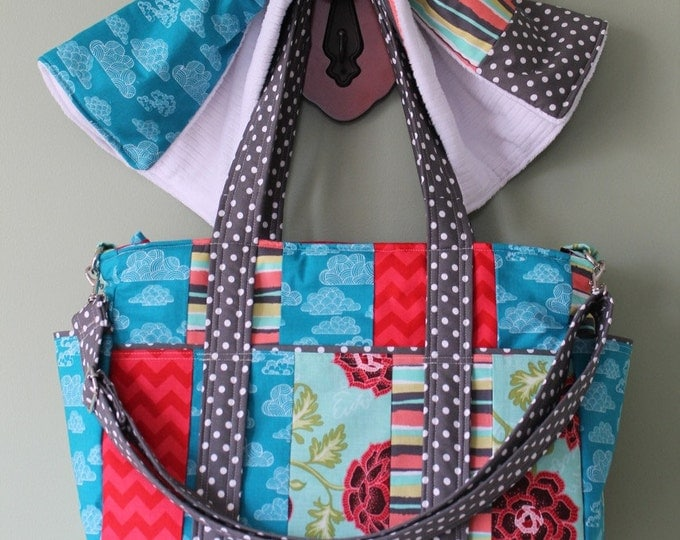 Watermelon Wishes Large Diaper Bag for Twins or Triplets with Patchwork Styling