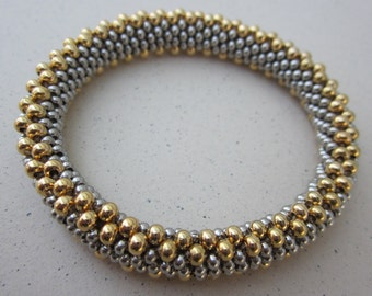 flat weave gold and nickel-silver bead crochet bracelet + free one-page bead crochet tutorial pdf