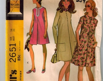 Vintage 70s Maternity Dress Sewing Pattern Sz 14 Bust 36 Sleeveless Long/Short Sleeves Patch Pockets Inverted Pleat Armhole Darts Back Zip