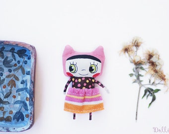 Cat girl doll, Fabric kitty miniature, Petite doll friend, Childhood doll, Unique gift, Kitty lover gift, Cat decor, Desk toy, Unique doll