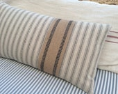 PaRiS FrencH 22x12 Down Pillow/Cottage Beachy/Shabby Chic/Ticking/Decorative Throw Pillow/Tan and Cream