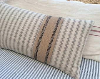 PaRiS FrencH 20x12 Down Pillow/Cottage Beachy/Shabby Chic/Ticking/Decorative Throw Pillow/Tan and Cream