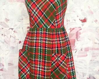 Plaid 60s 70s Dress Short Sleeveless