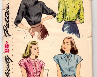 """Vintage Sewing Pattern Ladies' Blouses 1940's Simplicity 1403 in 36"""" Bust - Free Pattern Grading E-book Included"""