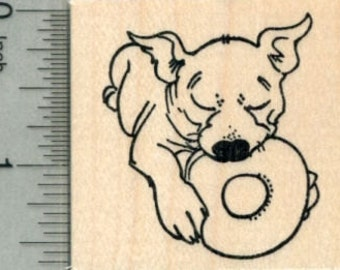 Puppy Rubber Stamp, Dog with Chew Toy, Pitbull, Bulldog E30212 Wood Mounted