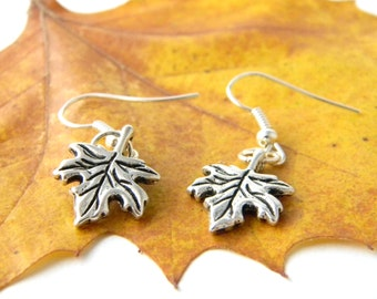 Maple Leaf Earrings Silver Color Dangle Earrings