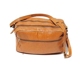 Vintage Men's Cornucopia Tan Leather Shoulder or Overnight Bag