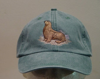 SEA LION HAT - One Embroidered Wildlife Cap - Price Embroidery Apparel - 24 Color Caps Available