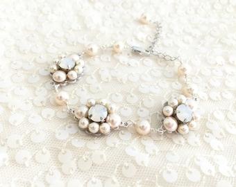 Swarovski Pearl Bridal Bracelet with flower pattern embellished links, wedding bracelet, pearl bracelet, cream rose pearl white opal CLARA