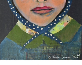 Woman Portrait Painting Print. Blue Portrait Digital Art Print. Wall Art Prints. Blue Bonnet with White Polka Dots