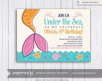 Mermaid Birthday Party Invitation, Under the sea Invitation, Color options, Personalized, Digital DIY Printable File, Item 182