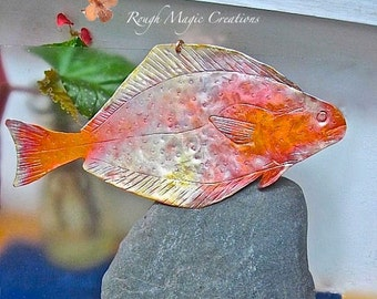Fish Wall Art, Gift for Men, Rustic Copper Decor, Hammered Metal, Colorful Decor, Nautical Gift for Fisherman, Man Cave Decoration for Him