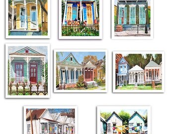"New Orleans Art - Nine 11x14"" Shotgun House Art Prints - Three Prints Are Free - Signed and Numbered"