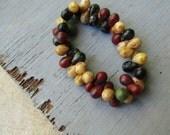 Czech glass beads drops  , translucent  opaque green beige black red matte picasso  5mm x7mm   / 50 beads  6aZ0696