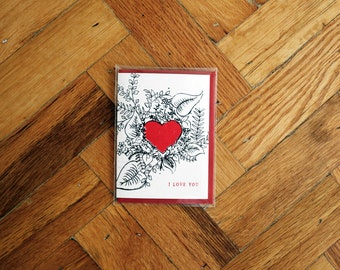 I love You Floral Heart Card