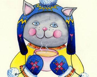 My Kitty Cat loves Christmas Art Print children's illustration 8x10
