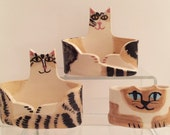 pottery cat: desk decor business card holder tabby green eyed cat office feline theme
