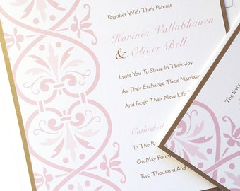 Blush and gold Damask Wedding Invitation, square, Romantic wedding invitations, elegant pink wedding invitation, vintage victorian - Deposit