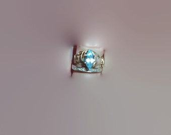 Reclaimed Upcycled Blue Topaz Marquise Silver and Gold Wire Wrapped Ring Size 4 Pinky Ring Engagement Solitaire Ring Gift for Her Friend