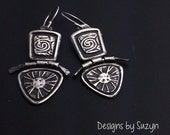 Earrings, silver, tribal, artisan, handmade, Smaller Hinged Silver Earrings by Designs by Suzyn
