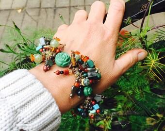 Desert Stone Fringe Caterpillar Bracelet with Vintage Green Glass Roses